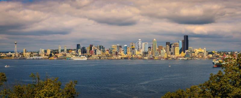 西雅图地平线全景 免版税库存图片