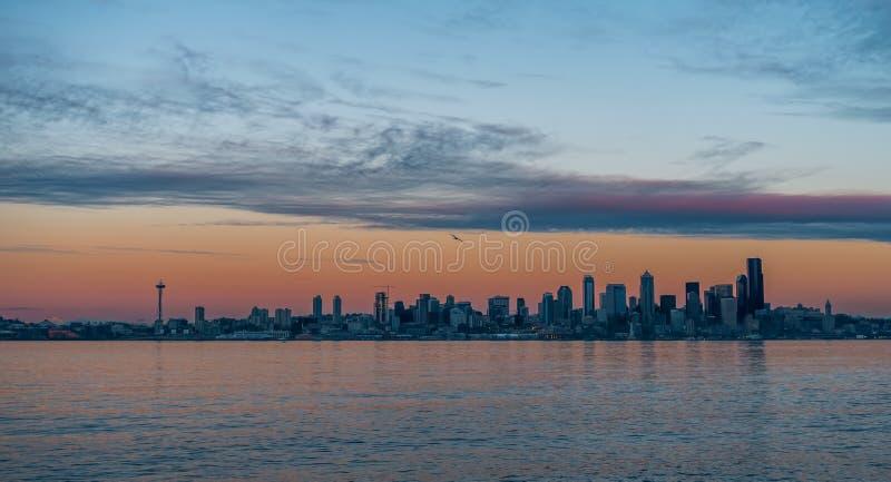 西雅图地平线日落2 库存图片