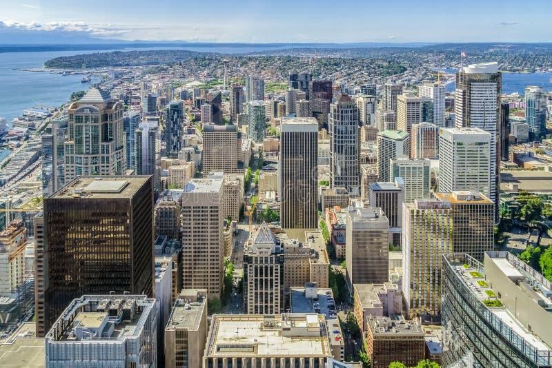 西雅图地平线,街市区鸟瞰图  免版税库存照片