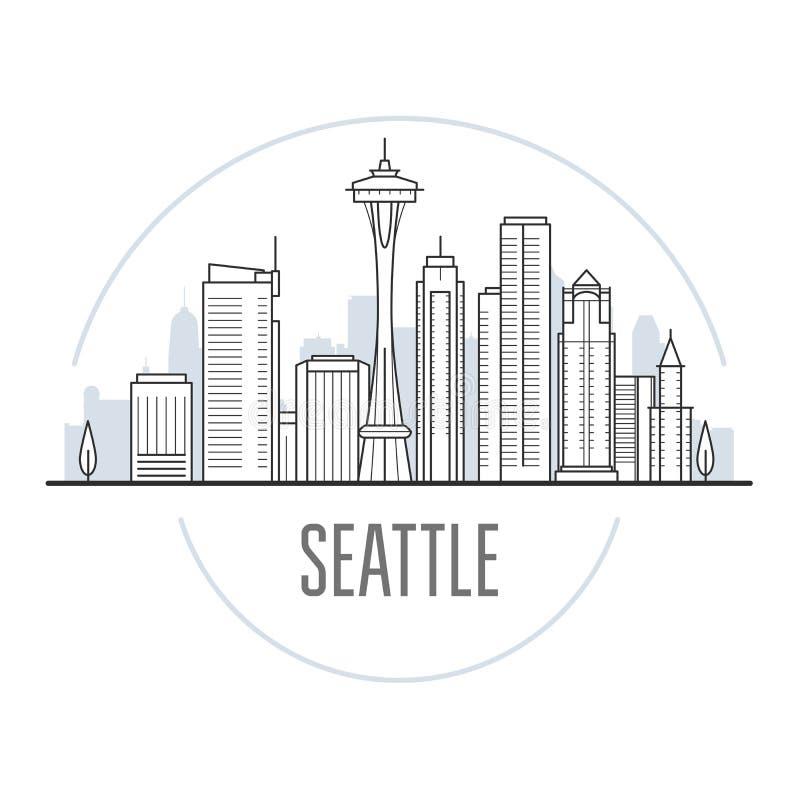西雅图市地平线-西雅图,都市风景地标  皇族释放例证