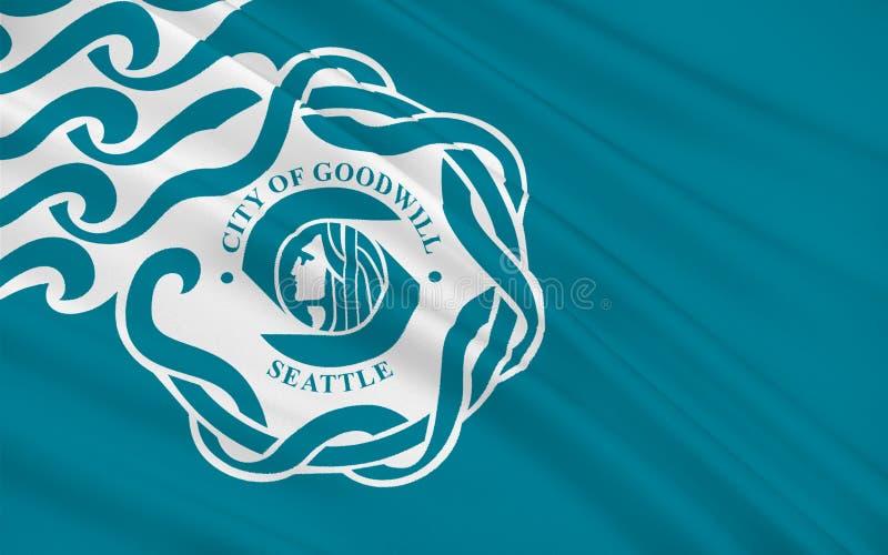 西雅图旗子在华盛顿,美国 向量例证