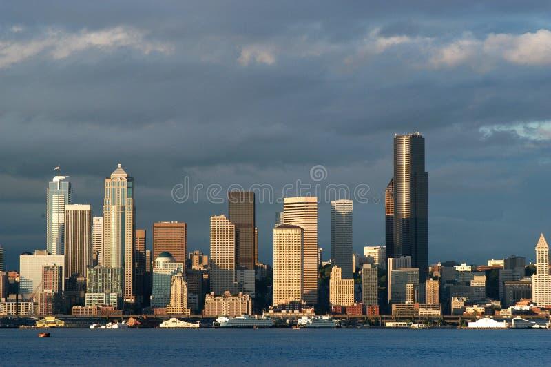 西雅图日落江边 图库摄影