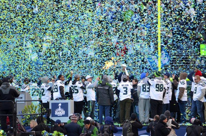 西雅图海鹰庆祝胜利 免版税库存图片