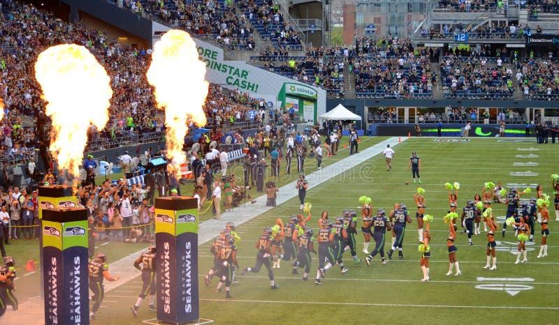 西雅图海鹰开始比赛 库存照片
