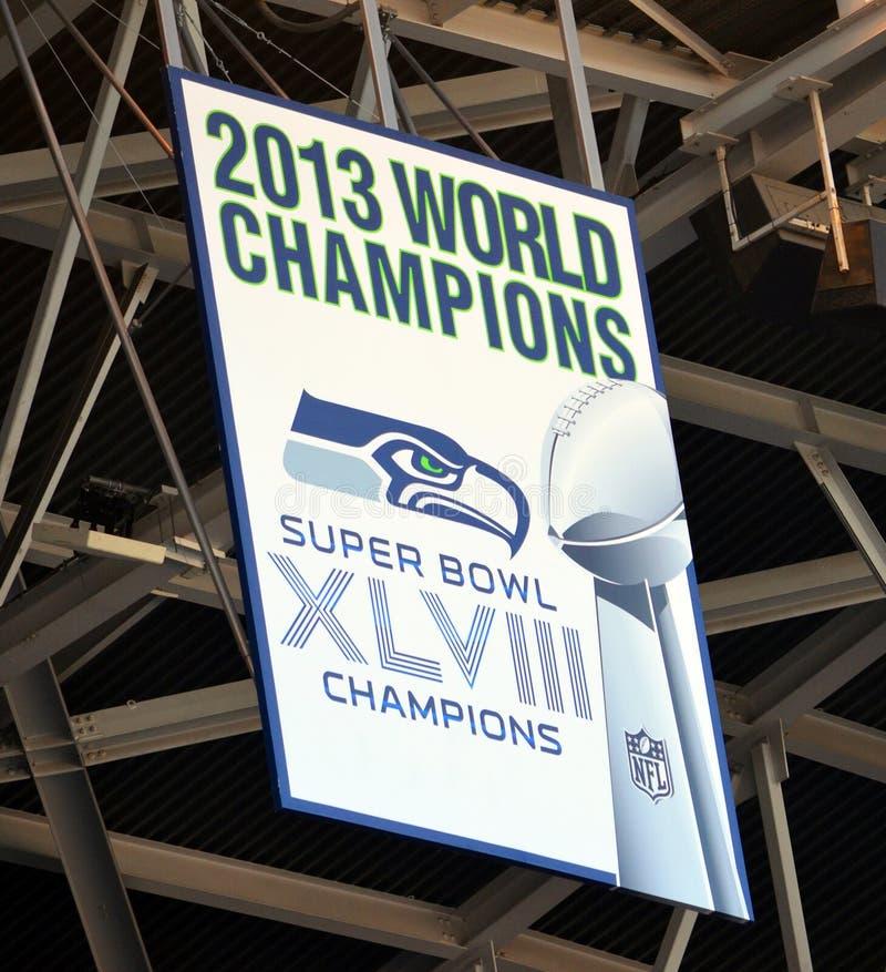 西雅图海鹰2013年Superbowl横幅 库存图片