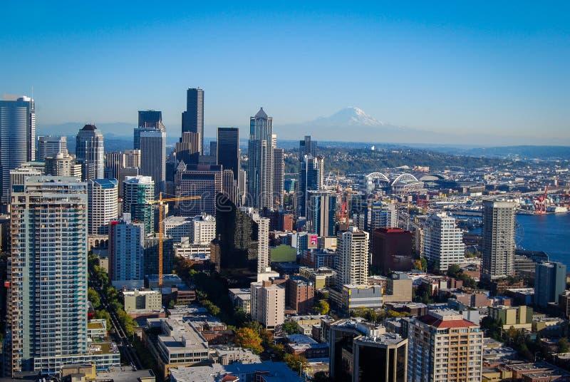 西雅图的地平线看法从空间针的 免版税图库摄影
