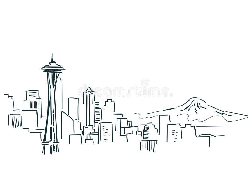 西雅图美国市剪影传染媒介例证线艺术 皇族释放例证