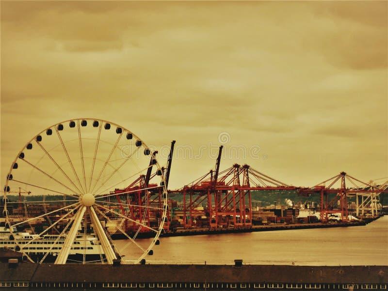 西雅图船坞视图 免版税库存图片