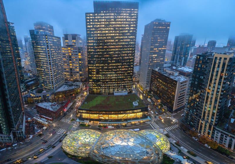 西雅图街市鸟瞰图在晚上 库存照片