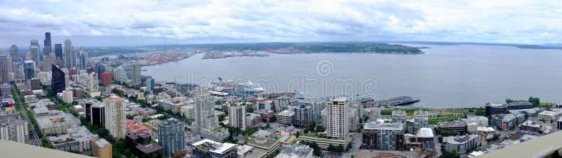 西雅图,全景Wahsington的江边 免版税库存照片
