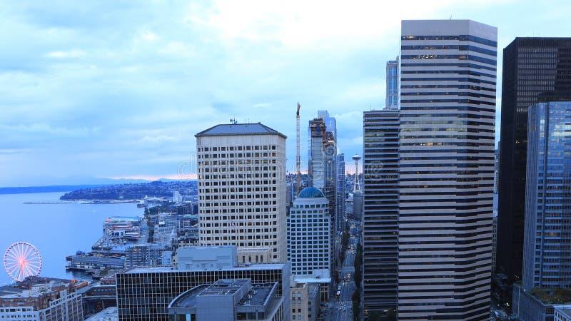 西雅图,华盛顿的鸟瞰图市核心 免版税库存图片