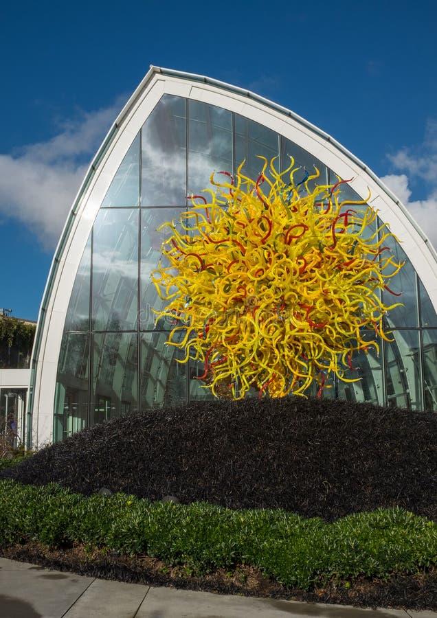 西雅图,华盛顿,美国,2015年12月,15日:在显示一件美丽的吹制玻璃艺术品的惊人的Chihuly心房之外 免版税库存照片