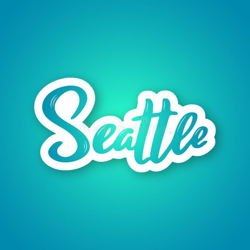西雅图-美国城市的手写的名字 库存例证