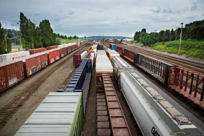 西雅图Interbay火车围场阴云密布天空 图库摄影