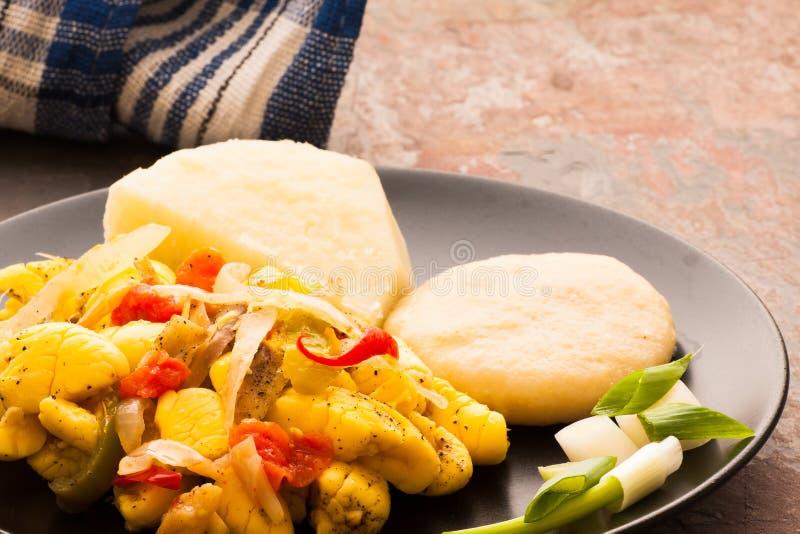 西非荔枝果和盐鱼 免版税库存图片