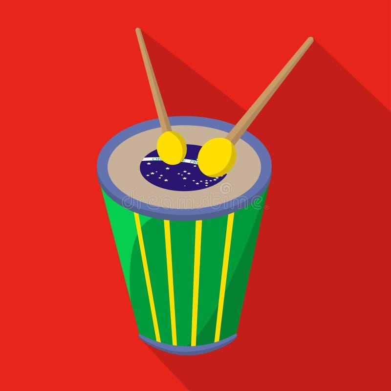 巴西鼓动画片平的象 面包渣 也corel凹道例证向量 向量例证