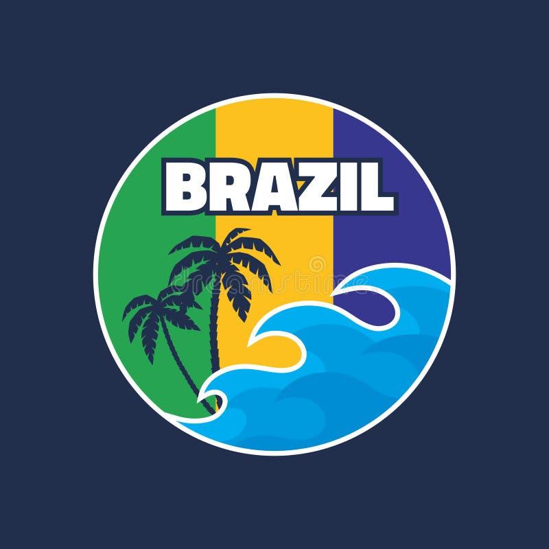 巴西-传染媒介在葡萄酒图表样式的例证概念T恤杉和其他的印刷品生产 皇族释放例证