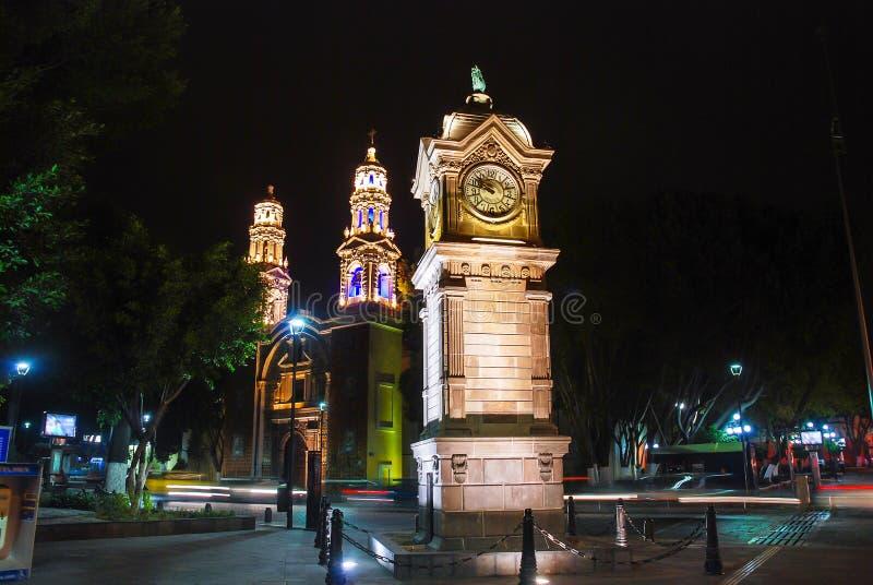 主要中央公园和正方形在普埃布拉de萨瓦格萨,墨西哥 免版税库存照片