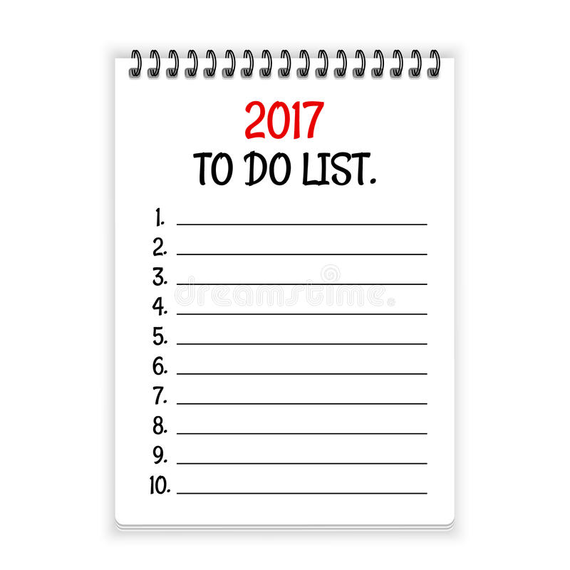 要做名单开放螺纹笔记本纸传染媒介背景的2017年 皇族释放例证