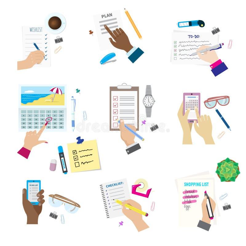 要做的议程名单概念传染媒介例证集合企业笔记ofiice日历wishlist清单购物单计划 向量例证