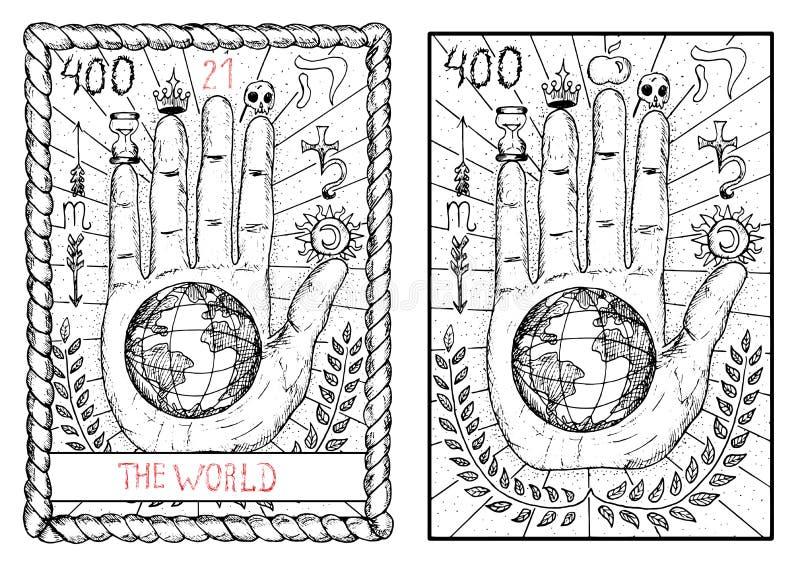 主要奥秘占卜用的纸牌 世界 库存例证