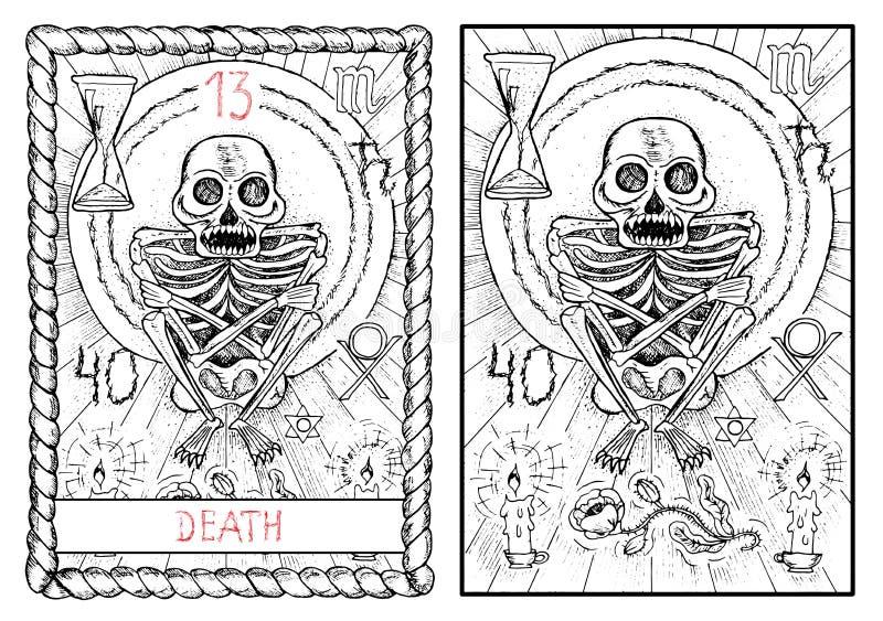 主要奥秘占卜用的纸牌 死亡 向量例证