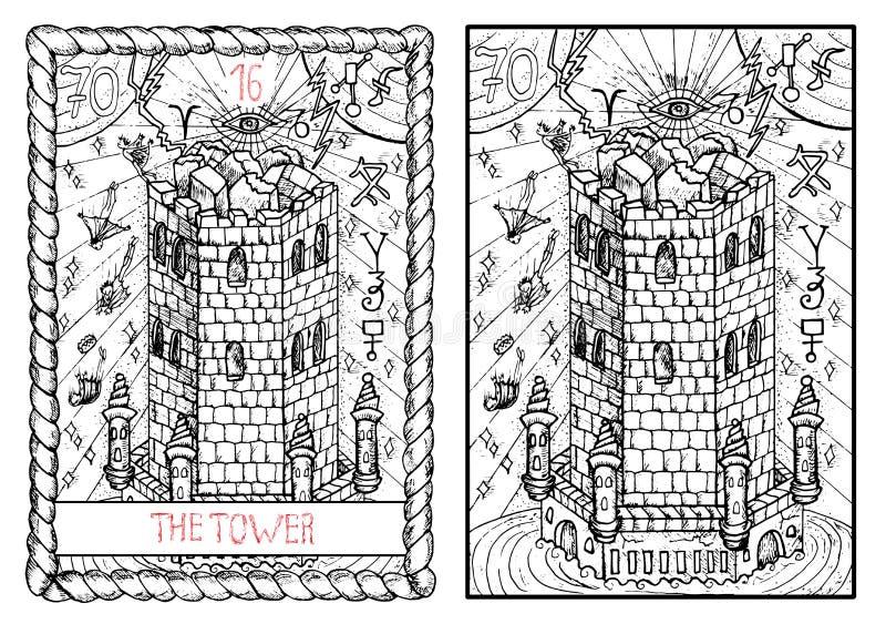主要奥秘占卜用的纸牌 塔 向量例证
