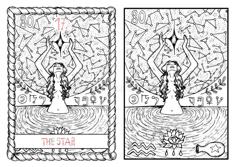 主要奥秘占卜用的纸牌 星 库存例证