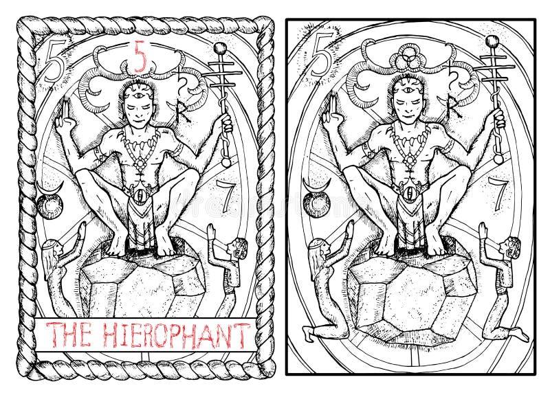 主要奥秘占卜用的纸牌 hierophant 皇族释放例证
