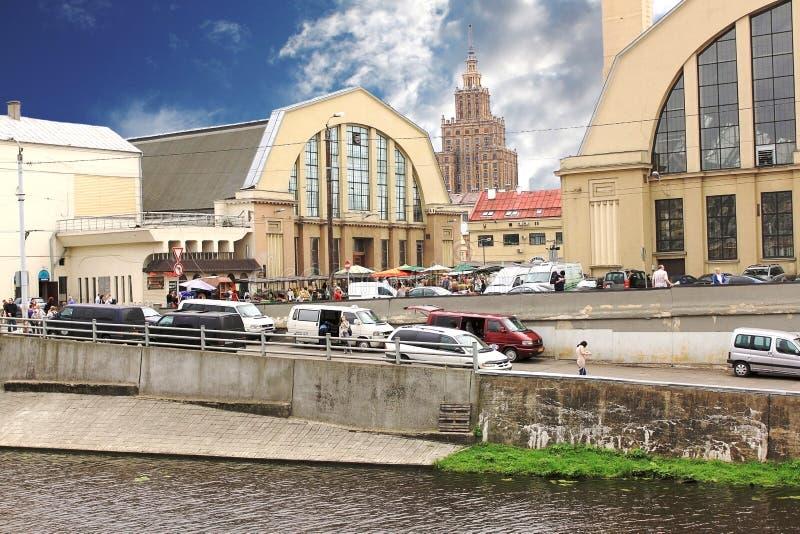 主要市场里加 拉脱维亚 库存照片