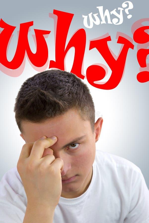 要求沮丧的英俊的少年为什么?为什么? 库存照片