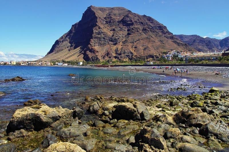 主要海滩瓦尔Gran Rey,戈梅拉岛海岛 免版税库存图片