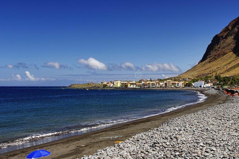 主要海滩瓦尔Gran Rey,戈梅拉岛海岛 免版税库存照片