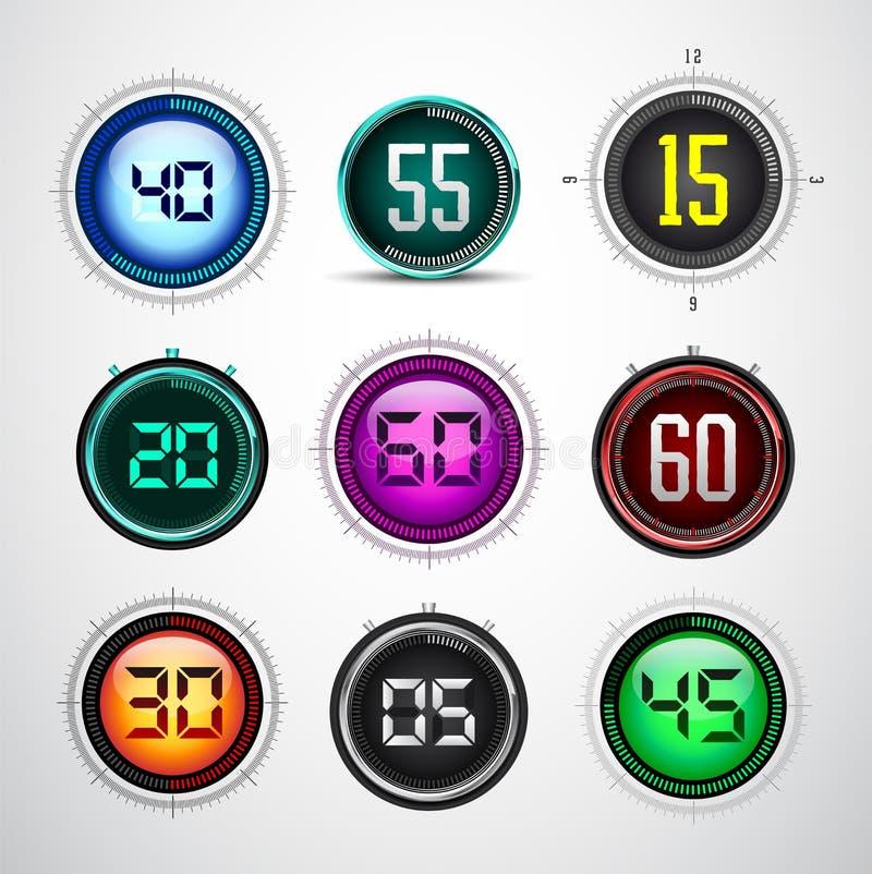 主要现代五颜六色的数字式定时器-秒表 向量例证