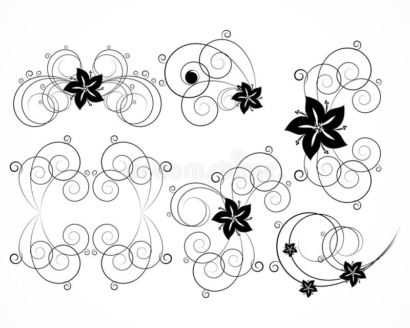 要素花卉集向量 皇族释放例证