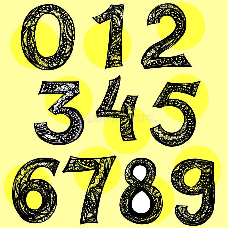 要素 套十号码表单零到九, 库存例证