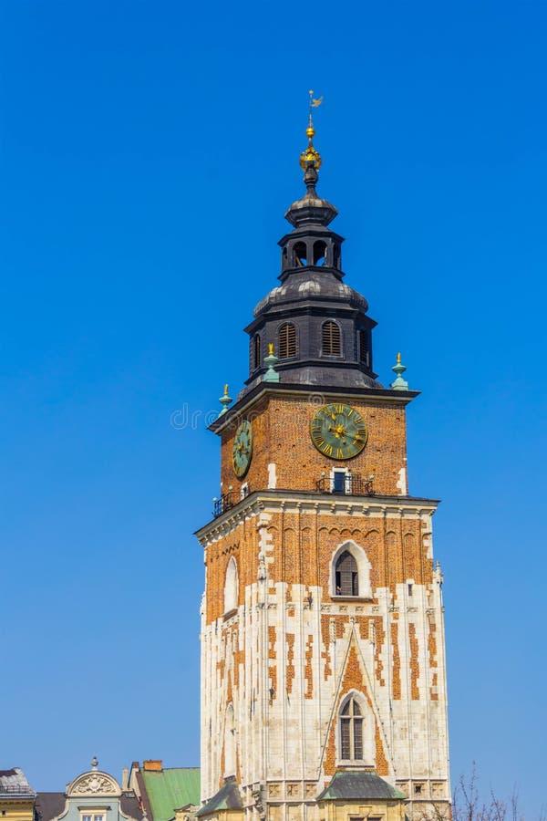 主要集市广场的(Rynek Glowny)老城镇厅(Ratusz)在克拉科夫,克拉科夫,波兰,欧洲 免版税库存图片