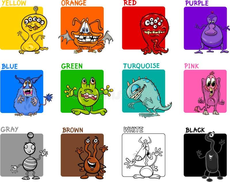 主要颜色动画片集合 皇族释放例证