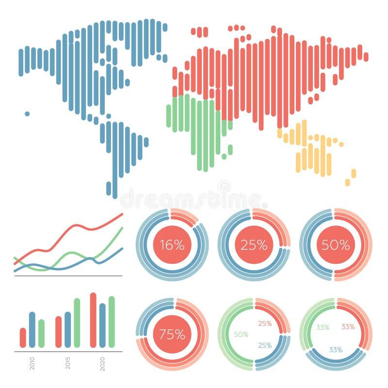 要素infographic集 世界地图和 向量例证