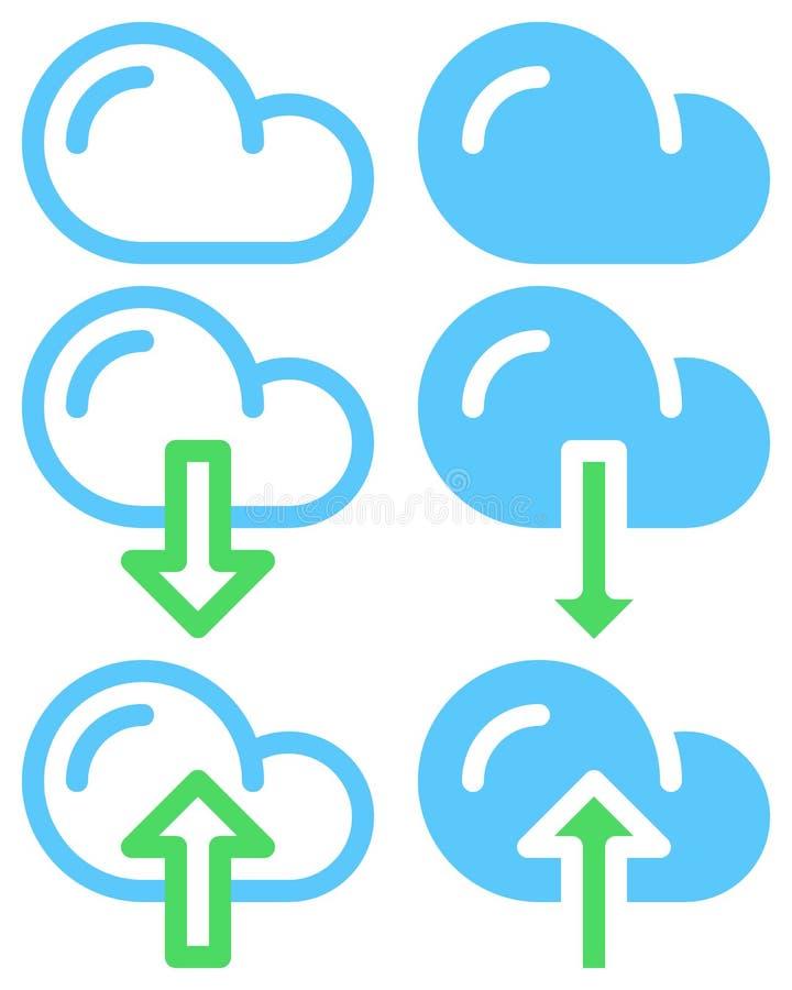覆盖下载和加载简单的线和充分的象、概述和固体传染媒介标志,线性和被填装的图表 库存例证