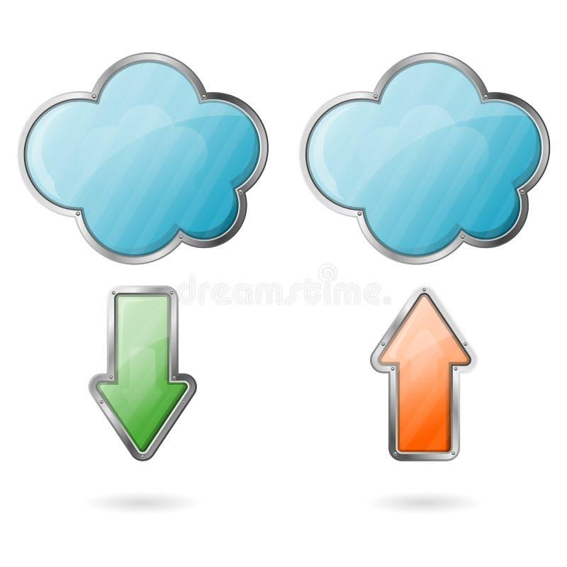 在云彩象的加载和下载 向量例证