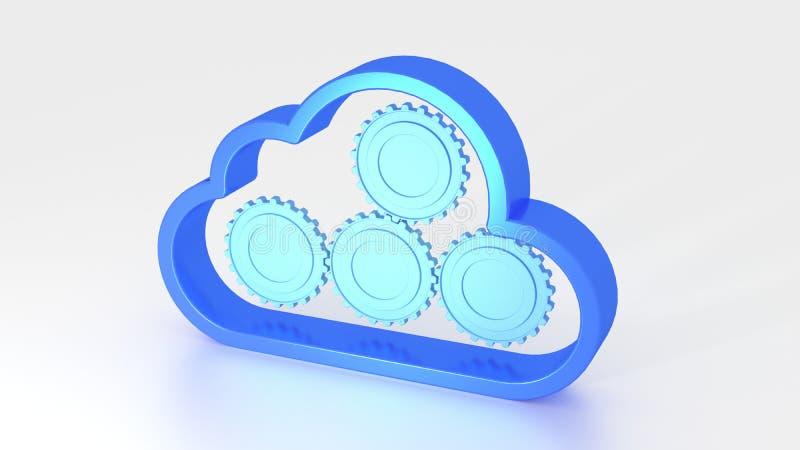 覆盖与齿轮的标志在云彩计算的概念里面 向量例证