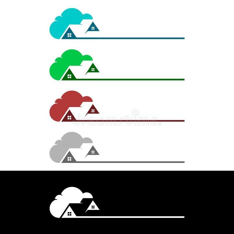 覆盖在家,房地产传染媒介与议院和云彩形状的商标设计,代表的互联网,数据或者主持 向量例证