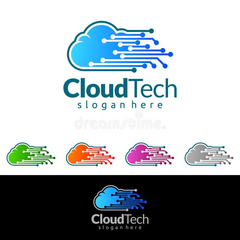 覆盖在家,房地产传染媒介与议院和云彩形状的商标设计,代表的互联网,数据或者主持 皇族释放例证