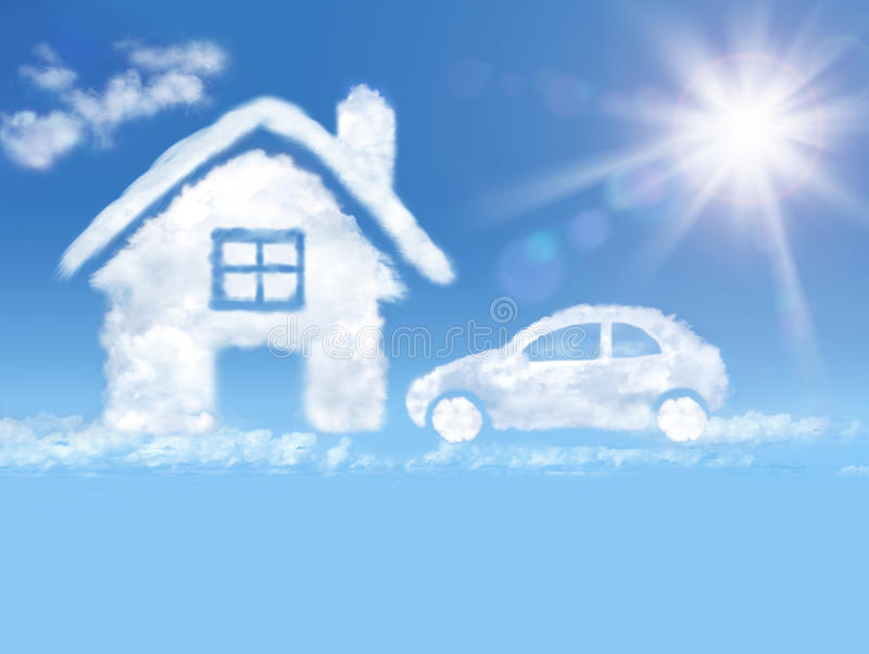 覆盖在蓝天和光亮的星期日的房子和汽车 库存例证