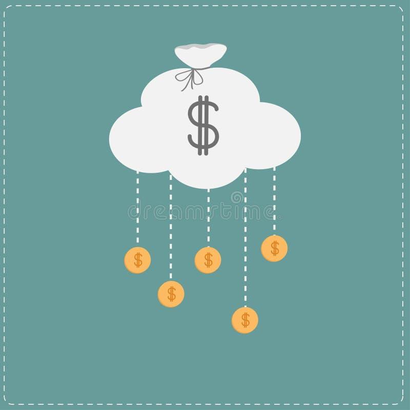 覆盖在袋子和垂悬的硬币形状与美元的符号。Busine 皇族释放例证