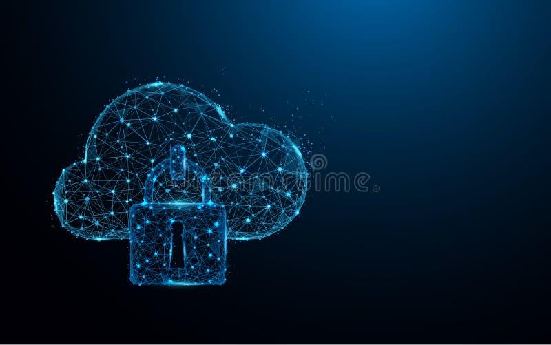 覆盖安全象形式线和三角,在蓝色背景的点连接的网络 库存例证