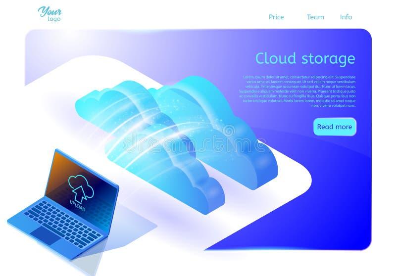 覆盖数据存储网站的网页模板关于云彩计算的服务 等量传染媒介例证 向量例证