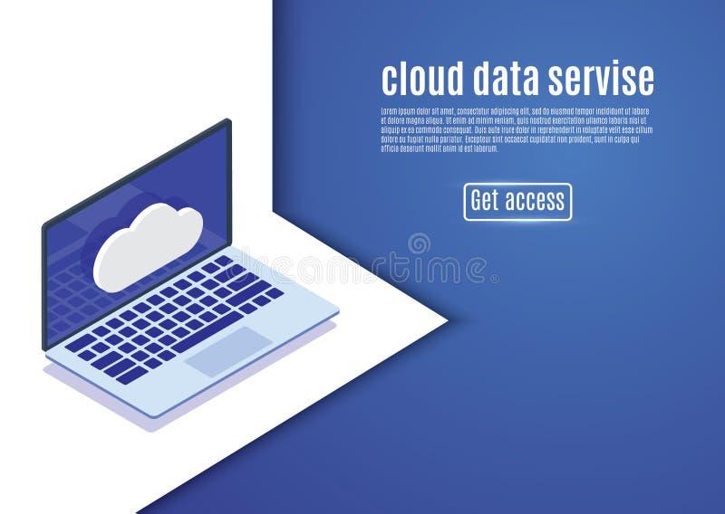 覆盖数据存储,网络主持,在蓝色背景的等量服务器传染媒介例证 计算机 皇族释放例证
