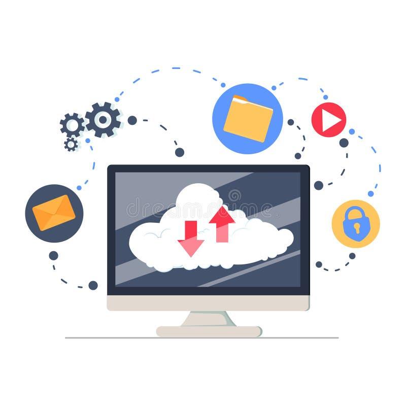 覆盖服务和技术,存贮解答,数据交换,网上网络概念,平的例证 皇族释放例证